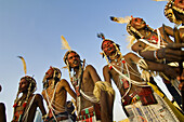 Young Bororo men dancing during Gerewol festival, the most important traditional meeting for Bororo tribe, Niger