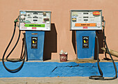 Aged, Color, Colour, Concept, Concepts, Daytime, exterior, Filling station, Fuel, Gas pump, Gas station, Gas stations, Industrial, Industry, Old, outdoor, outdoors, outside, Pair, Petrol station, Transport, Transportation, Transports, Two, A75-731132, age