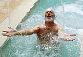 Color, Colour, Contemporary, Fit, health, Man, Mature, Old, People, Spa, Swim, Swimming Pool, Woman, Years, A75-855838, agefotostock