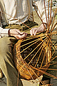 Traditional basketwork in a medieval market. Mollerussa,  Lleida,  Spain.