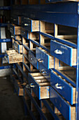 Drawers in warehouse, abandoned shipyard, Pasaia, Gipuzkoa, Basque Country, Spain
