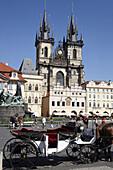 Jan Hus Memorial and Tyn church in Staromestske Namesti (Old Town Square), Prague, Czech Republic