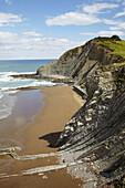 Flysh rock strata,  Itzurun beach,  Zumaia,  Guipuzcoa,  Basque Country,  Spain
