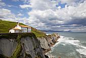 Chapel of San Telmo,  ´flysh´ rock strata,  Zumaia,  Guipuzcoa,  Basque Country,  Spain