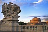 Italy. Rome. Castel Sant´Angelo from Vittorio Emanuelle II bridge.