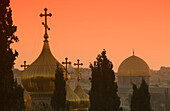 Russian orthodox church domes and dome of the rock temple mount old city jerusalem. Israel.