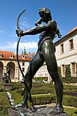 Bronze archer statue wallenstein palace ornamental garden mala strana. Prague. Czech Republic.