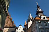 Old-new synagogue and old jewish town hall josefov jewish quarter. Prague. Czech Republic.