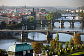 Manesuv charles and legil bridges over vltava river from letna hill overlook. Prague. Czech Republic.