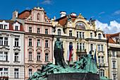 Jan hus statue old town square stare mesto. Prague. Czech Republic.