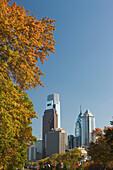 Tall buildings ben franklin parkway downtown skyline. Philadelphia. Pennsylvania. USA.