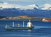 America, Argentina, Calm, Cargo, Container, Del, Earth, End, Fire, Landscape, Maritime, Month, Months, Mountains, Of, Panoramic, Patagonia, Peak, Port, Snow, Snowy, South, The, Top, Trade, Ushuaia, Vessel, View, Waters, World, XC8-764950, agefotostock