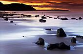 Beach at sunset, Berria beach, Santoña, Cantabria, Spain