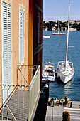 The pretty coastal village of Villefranche-sur-Mer and the harbour. Alpes Maritimes, France