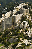 Peyrepertuse ruined fortress, Cathar castle. Aude, Languedoc-Roussillon, France