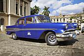 Classic American blue Pontiac taxi, Havana, La Habana Vieja, Cuba