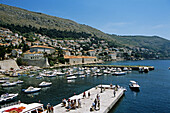 Old city port from old city walls, general view, Dubrovnik, Dalmatian Coast, Croatia, Former Yugoslavia