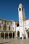 Bell tower and Sponza Palace, Luza Square, Stradun, Dubrovnik, Dalmatian Coast, Croatia, Former Yugoslavia