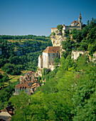 Houses perched on hillside, Rocamadour, The Dordogne, France