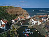 Harbour Scene, Staithes, Yorkshire, UK, England