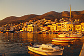 Town and Harbour in evening light, Samos Town, Samos Island, Greek Islands