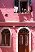Old Lady at Window, Corfu Old Town, Corfu (Ionian Islands), Greek Islands