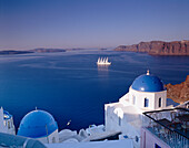Blue-domed Church with View to Bay, Oia, Santorini Island, Greek Islands