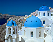 Blue-domed Churches & View, Oia, Santorini Island, Greek Islands