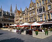 Cafe Scene in Grote Market, Ypres (Ieper), Flanders, Belgium