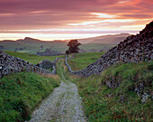 Goat Scar Lane View at Sunset (late Summer), Stainforth (Ribblesdale), Yorkshire, UK, England