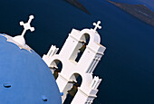 Blue Domed Church & Bell Tower, Fira, Santorini Island, Greek Islands
