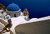 Blue Domed Church & Bell Tower, Oia, Santorini Island, Greek Islands