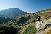 Old Lady on Steep Path, Olimbos, Karpathos Island, Greek Islands