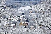 Cityscape with St. Ulrich church in winter, Schlettau, Ore mountains, Saxony, Germany