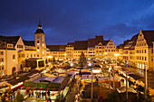 View over Christmas market, Freiberg, Ore mountains, Saxony, Germany