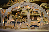Wooden candle arch with monuments of Dresden, Saxony, Germany