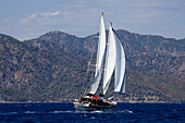 Sailing boat head to wind at the bay of Fethiye, Turkey, Europe