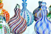 Snuff flasks, glass museum, Frauenau, Bavarian Forest, Lower Bavaria, Bavaria, Germany