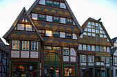 Half timbered houses in the old city of the town of Bad Salzuflen, Straße der Weserrenaissance, Lippe, North Rhine-Westphalia, Germany, Europe