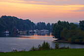 Marina near Rees, Late summer, Morning, Reeserschanz, Lower Rhine, North Rhine-Westphalia, Germany, Europe