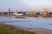 Late summer,  Evening, View from Düsseldorf - Oberkassel at Düsseldorf with Schloßufer, Rathausufer, Mannesmannufer, Lower Rhine, North Rhine-Westphalia, Germany, Europe