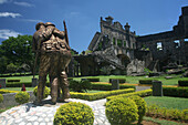 War memorial in front of the ruins of a theater, Corregidor Island, Manila Bay, Philippines, Asia