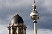 TV tower Berlin, Alexanderplatz, and the Stadthaus, Berlin, Germany