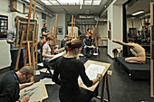under the roof of Humboldt University of Berlin, a class for nude drawing, Berlin Germany