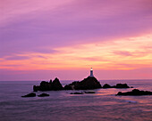 Corbiere Lighthouse at sunset, Corbiere Point, Jersey, UK, Channel Islands