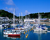 Yachts in St Aubin's Harbour, St Aubin, Jersey, UK, Channel Islands