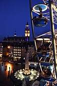 Ferris wheel and Grande-Place from above at night, Lille, Nord pas de Calais, France