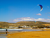 Kite surfing on the beach, Agadir, Morocco