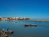 View to Kasbah des Oudaias castle across river Oued Bou Regreg, Rabat, Morocco