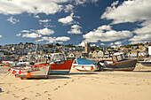 Harbour scene at low tide, St Ives, Cornwall, UK, England